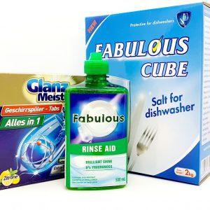 Com bo 3 sản phẩm muối, nước làm bóng, viên rửa bát Meister
